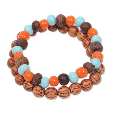 Artisan Crafted Ceramic and Wood Bead Bracelets (Pair)