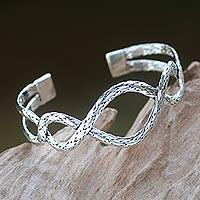 Sterling silver cuff bracelet, 'Lariat' - Women's Silver 925 Hand Made Cuff Bracelet from Bali