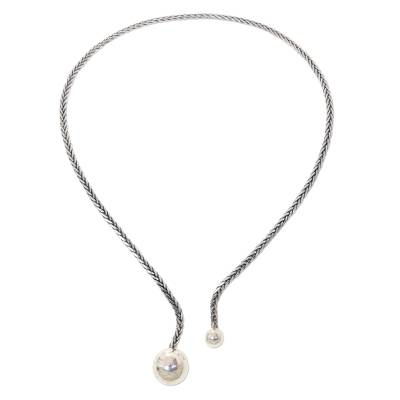 Sterling silver collar, 'Two Moons' - Modern Minimalist Balinese Collar in 925 Sterling Silver