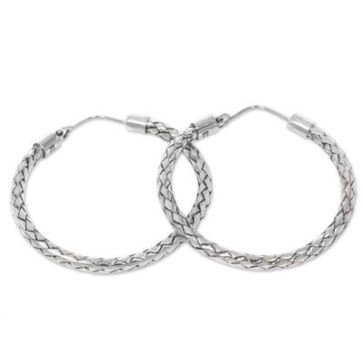 Sterling silver hoop earrings, 'Pandan Weaving' - Hoop Earrings of Handwoven Sterling Silver Ribbons