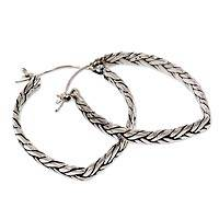 Sterling silver hoop earrings, 'Braided Grass' - Handmade Sterling Silver Saddleback Hoop Earrings Bali