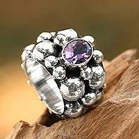 Amethyst cocktail ring, 'Boiling Sea' - Women's 925 Sterling Silver Amethyst Cocktail Ring from Bali