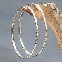 Sterling silver bangle bracelets, 'Sterling Circles' (pair)