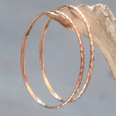 Pink gold plated bangle bracelets, 'Rose Gold Mosaic' (pair) - Women's Gold Plated Silver Bangle Bracelets from Bali (Pair)