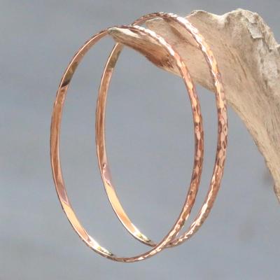 Rose gold plated bangle bracelets, 'Rose Gold Mosaic' (pair) - Fair Trade Modern Bangles in 18K Rose Gold Plate Over Sterli