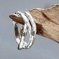 Sterling silver band rings, 'Denpasar Roads' (set of 3)