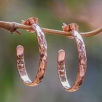 Rose gold plated half hoop earrings, 'Mosaic in Rose'