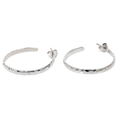 Hand Crafted Sterling Silver Half Hoop Earrings from Bali