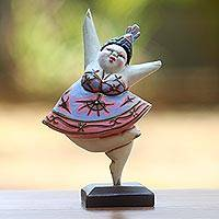 Wood statuette, 'Ballet Dancer IV' - Balinese Hand Crafted Albasia Wood Ballerina Statuette