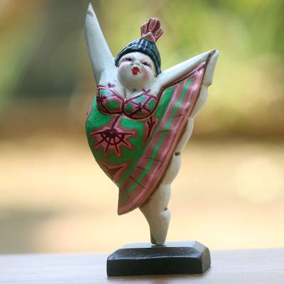Wood statuette, 'Ballet Dancer I' - Hand Crafted Wood Statuette of Ballerina from Bali