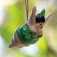 Wood ornament, 'Flying Diva' - Artisan Crafted Wood Ornament of Flying Lady in Green