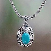 Turquoise pendant necklace, 'Blue Impact' - Turquoise and Sterling Silver Hand Crafted Pendant Necklace