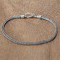 Sterling silver chain bracelet, 'Dragon's Tail'