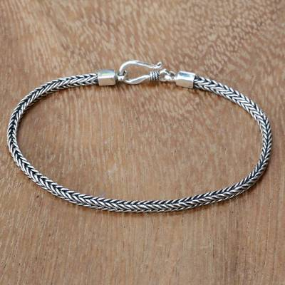 Sterling silver chain bracelet, 'Dragon's Tail' - Hand Crafted Sterling Silver Chain Bracelet from Bali