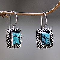 Turquoise drop earrings, 'Blue Shrine' - Handmade Turquoise and Sterling Silver Drop Earrings
