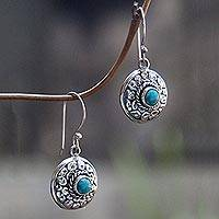 Turquoise dangle earrings, 'Blue Medallion' - Hand Crafted Turquoise and Sterling Silver Dangle Earrings