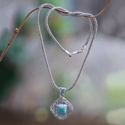 Turquoise and Sterling Silver Handmade Pendant Necklace