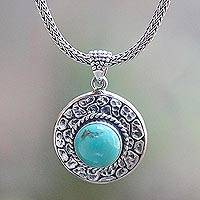 Turquoise pendant necklace, 'Blue Medallion'