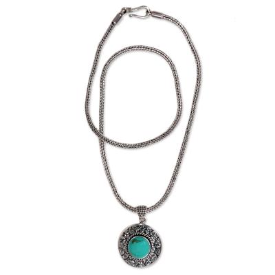 Turquoise pendant necklace, 'Blue Medallion' - Handmade Turquoise and Sterling Silver Pendant Necklace