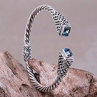 Gold accent blue topaz cuff bracelet, 'Grand Belle' - Blue Topaz on Sterling Silver Cuff Bracelet with Gold Accent