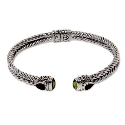 Garnet and peridot cuff bracelet, 'Flower Buds' - Hand Crafted Sterling Silver Hinged Cuff with Garnet and Per