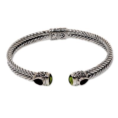 Garnet and peridot cuff bracelet, 'Flower Buds' - Braided Sterling Silver Cuff with Peridot and Garnet Gems