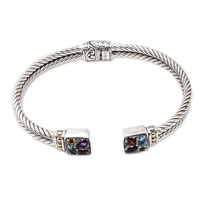 Multi-gemstone cuff bracelet, 'Sukawati Bright' - Artisan Crafted Sterling Silver Cuff Bracelet with Gemstones