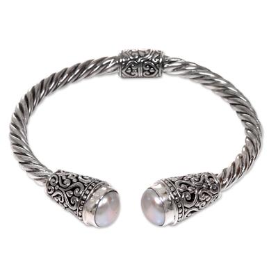 Cultured freshwater pearl cuff bracelet, 'Precious Dewdrops' - Hand Crafted Cultured Freshwater Pearl Cuff Bracelet