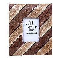 Natural fiber photo frame, 'Lamtoro Lurik' (2x3) - Artisan Crafted Natural Fibers Photo Frame (2x3)