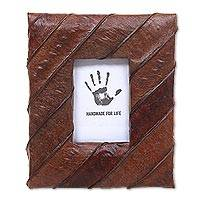 Natural fiber photo frame, 'Chocolate Lamtoro' (2x3) - Natural Fiber Handmade Small Photo Frame in Brown (2x3)