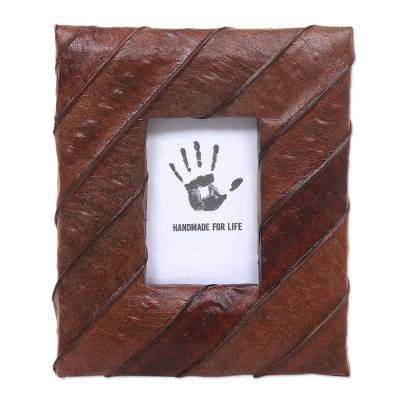 Natural Fiber Handmade Small Photo Frame in Brown (2x3)