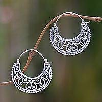 Sterling silver hoop earrings, 'Moonlit Garden'