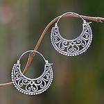 Balinese Style Sterling Silver Crescent Hoop Earrings, 'Moonlit Garden'