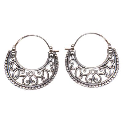 Balinese Sterling Silver Crescent Hoop Earrings
