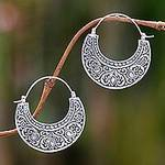 Ornately Detailed Sterling Silver 925 Hoop Earrings, 'Garden of Eden'