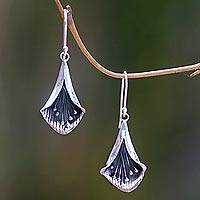 Sterling silver dangle earrings, 'Nature's Trumpet' - Hand Crafted Sterling Silver Trumpet Flower Earrings