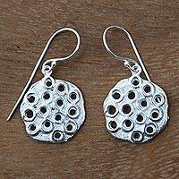 Sterling silver dangle earrings, 'White Honeycomb' - Honeycomb Textured Handcrafted Sterling Silver Earrings