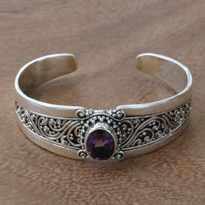 Amethyst cuff bracelet, 'Twilight Goddess' - Fair Trade Traditional Style Indonesian 925 Sterling Silver