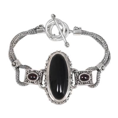 Onyx and garnet pendant bracelet, 'Royal Presence' - Balinese Style Pendant Bracelet with Onyx and Garnet