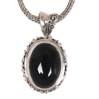 Onyx pendant necklace, 'Darkest Night' - Onyx and Sterling Silver Balinese Naga Pendant Necklace