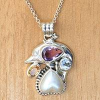 Multi-gemstone sterling silver pendant necklace, 'Jumping Dolphin' - Balinese Dolphin Necklace with Mabe Pearl and Gemstones