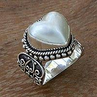 Cultured mabe pearl cocktail ring, 'Romance in White' - Ornate Cocktail Ring with Heart Shaped White Mabe Pearl