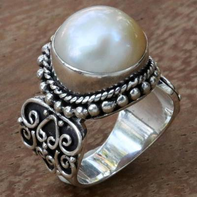 White Mabe Pearl Cocktail Ring in Sterling Silver Setting