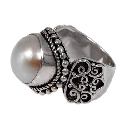 Cultured mabe pearl cocktail ring, 'Purely White' - White Mabe Pearl Cocktail Ring in Sterling Silver Setting