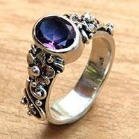 Amethyst single stone ring, 'Frangipani Path' - Amethyst and Sterling Silver Single Stone Flower Ring