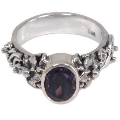 Amethyst and Sterling Silver Single Stone Flower Ring