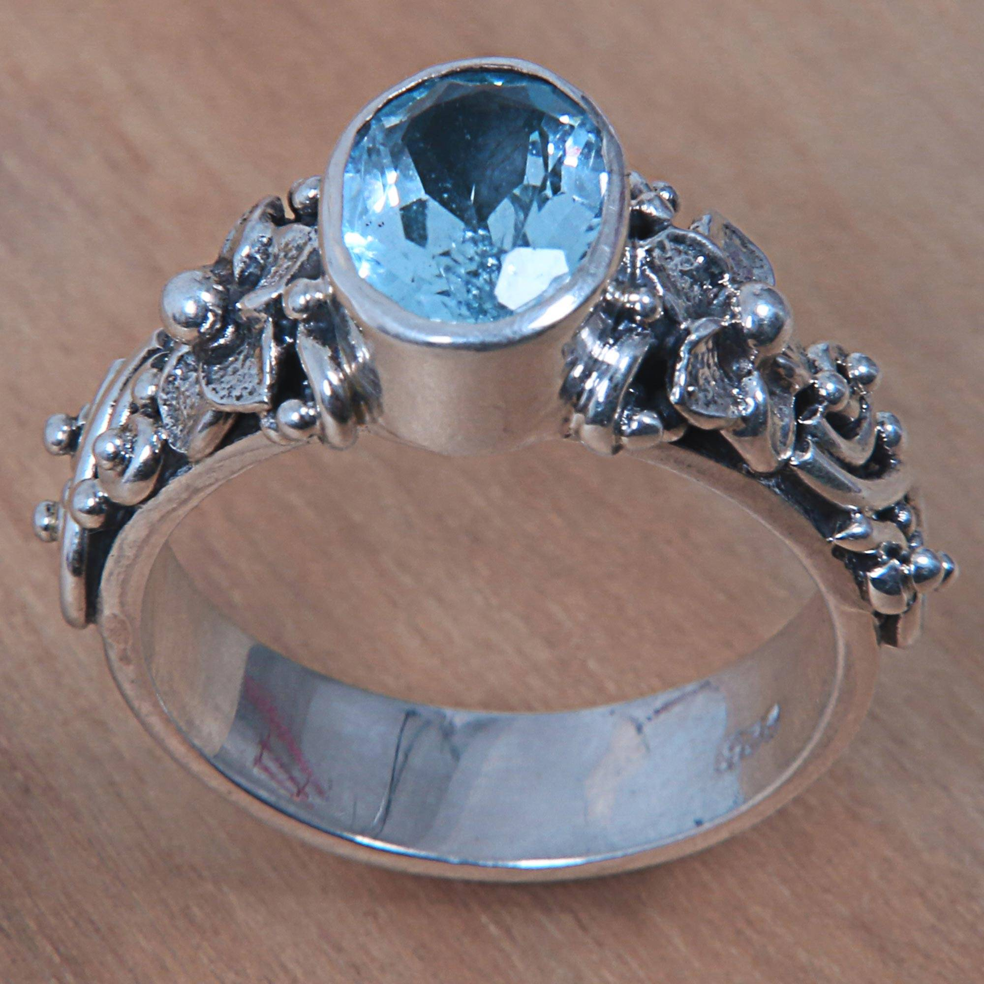 Desginer Handmade Jewellry Blue Topaz Quartz Silver Plated 8 Grams Earring 1.5 Long
