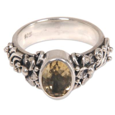 One Carat Citrine Cocktail Ring in Sterling SIlver