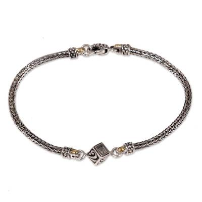 Naga Chain Bracelet Handmade with 925 Silver 18k Gold Accent