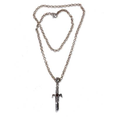 Men's garnet pendant necklace, 'Sword of Peace' - Handcrafted Men's Silver and Garnet Peace Theme Necklace